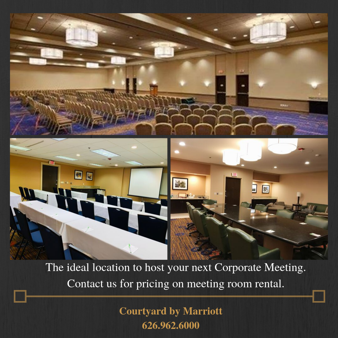 Photos of Meeting and Conference Rooms Courtyard Marriott Baldwin Park The ideal location to host your next corporate meeting. Contact us for pricing on meeting room rentals 626-962-6000