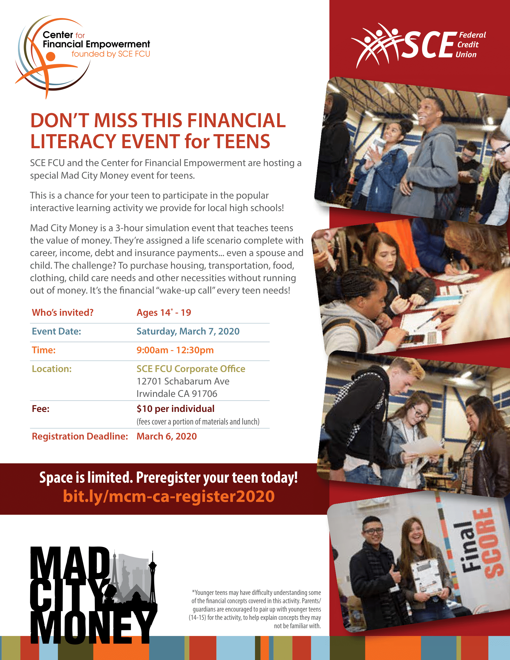SCEFCU Mad City Money Financial Literacy for Teens event. Saturday, March 7 from 9am to 12:30pm. $10.00 fee, register at link
