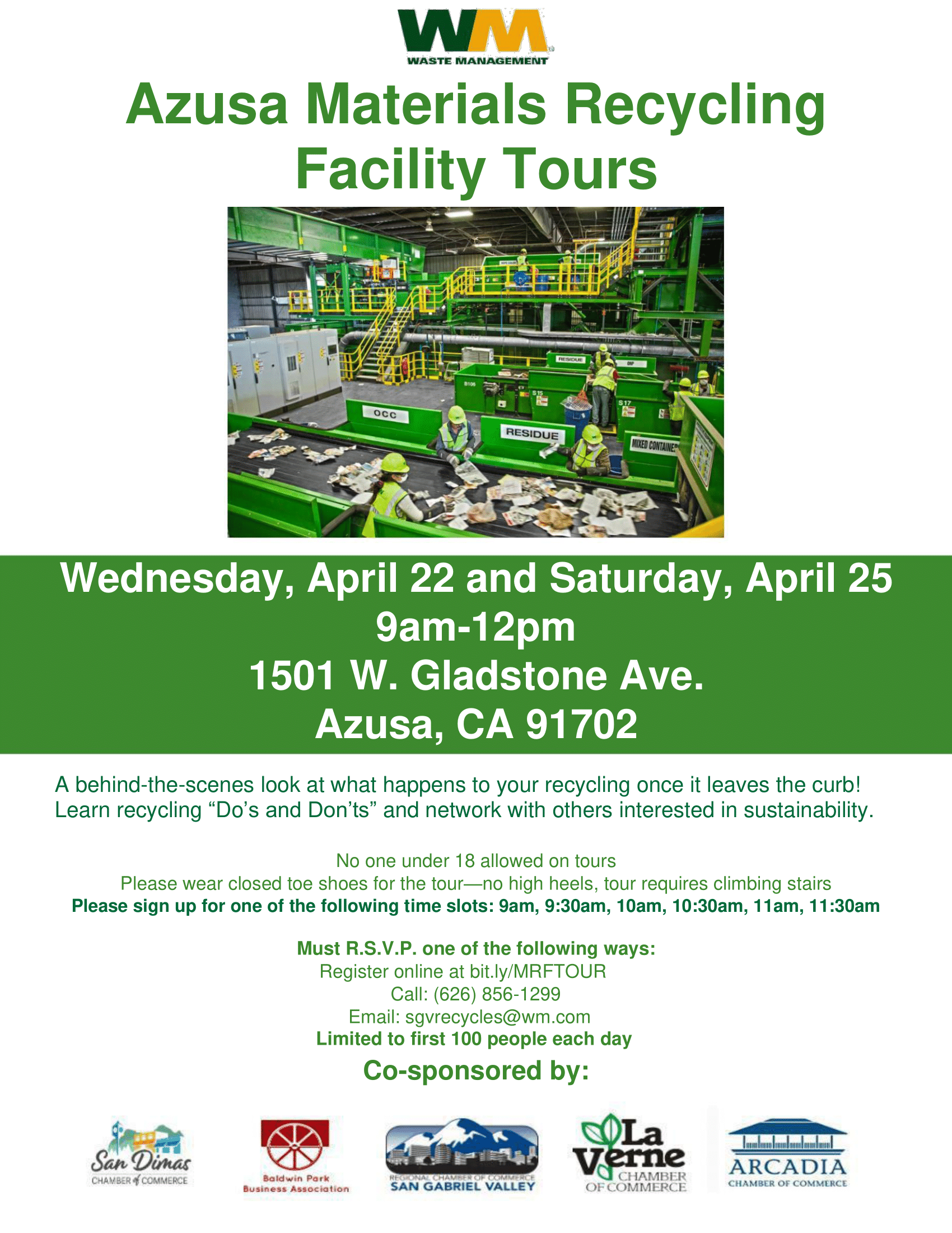Waste Management Azusa MRF Tour Flyer