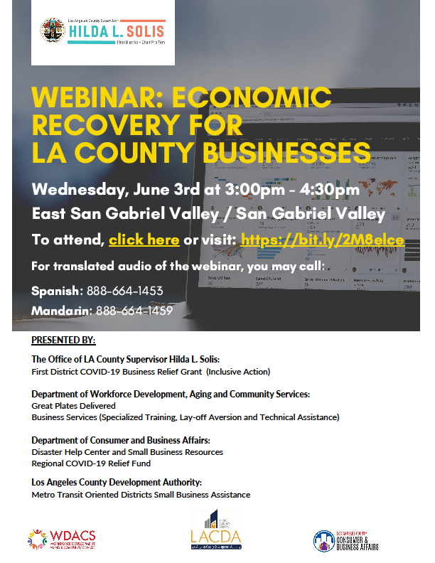 Webinar: Economic Recovery for LA County Businesses Flyer