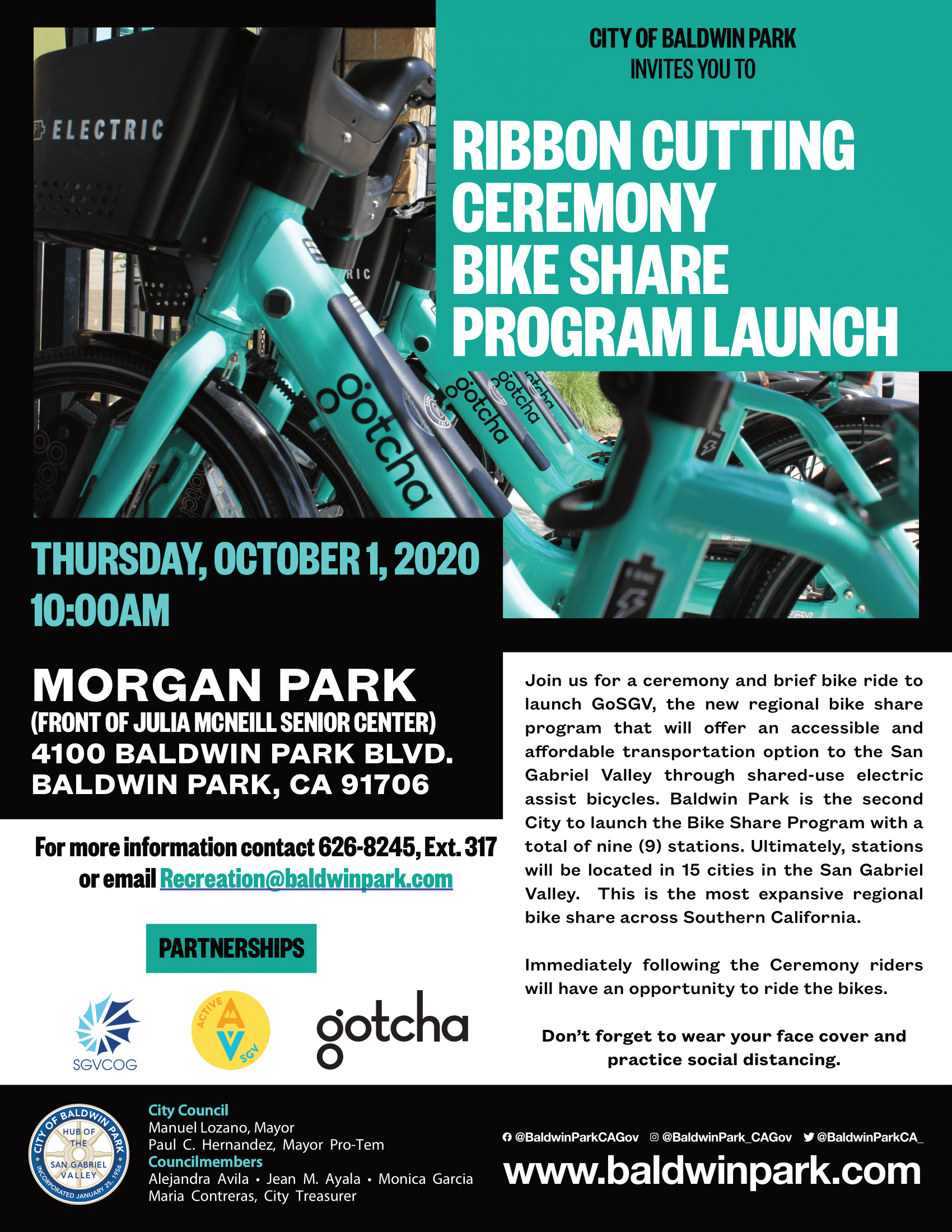 RIBBON CUTTING CEREMONY BIKE SHARE PROGRAM LAUNCH FLYER