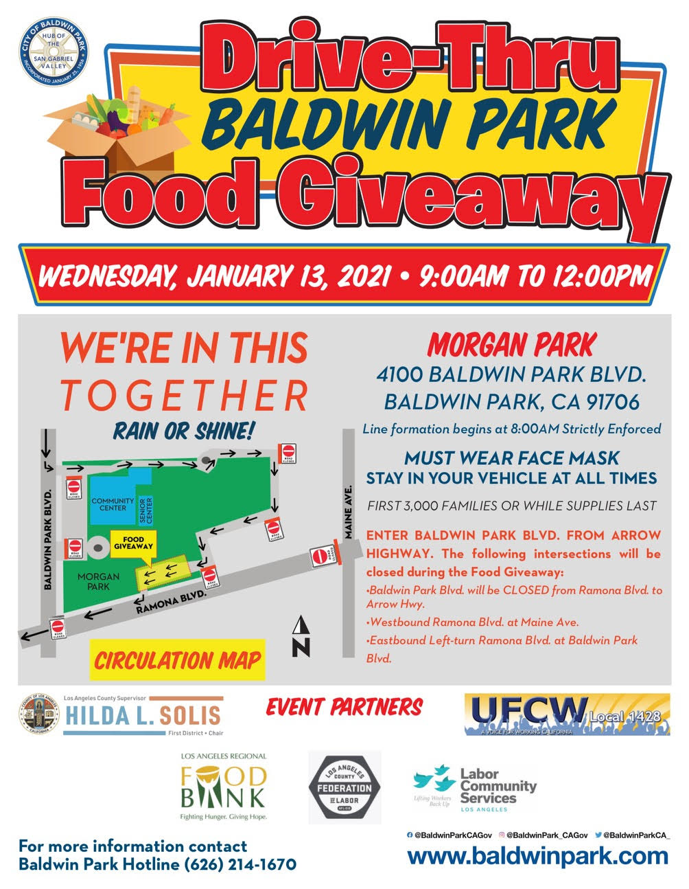 Flyer for Baldwin Park Drive-Thru Food Giveaway with map