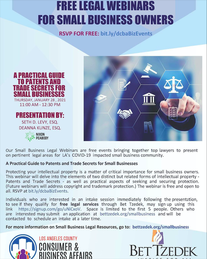 A Practical Guide to Patents and Trade Secrets for Small Businesses Webinar Flyer
