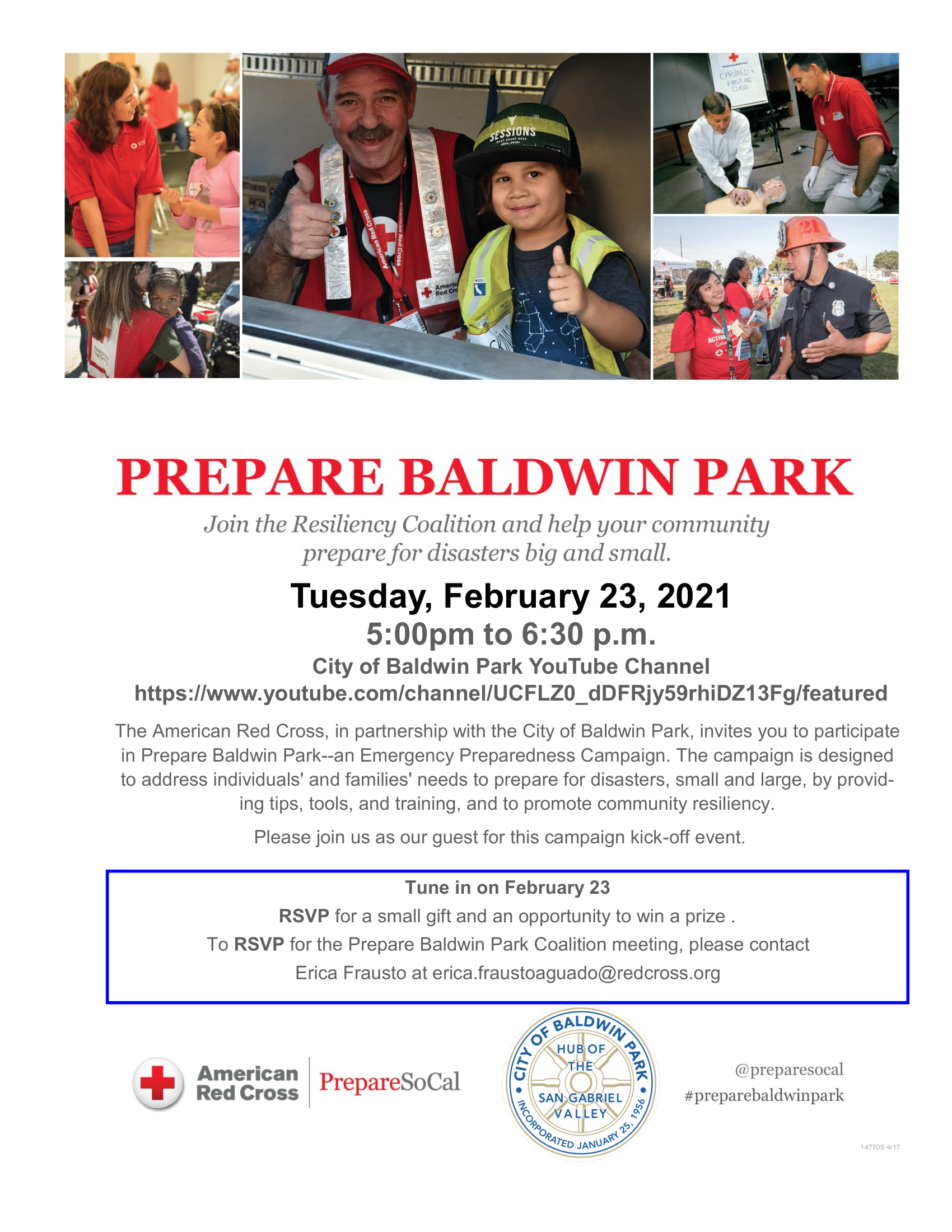 American Red Cross and Baldwin Park Community Coalition Emergency Preparedness Campaign Flyer