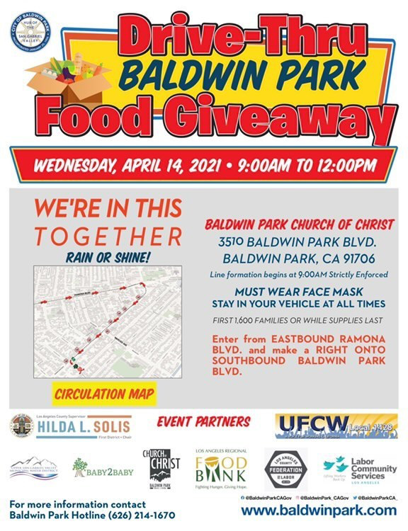 Baldwin Park Drive Thru Food Giveaway @ Baldwin Park Church of Christ